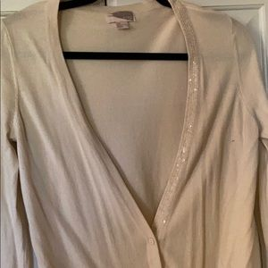 Tan Cardigan Sweater sz Medium sequins by Love 21